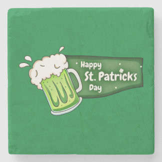 Happy St Patricks Day Beer Banner Stone Coaster