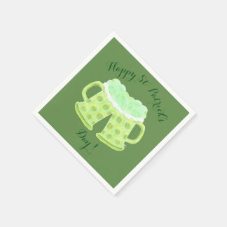 Happy St-Patrick's Day beers napkins Disposable Serviette