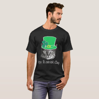 Happy St. Patrick's Day Cat Funny T-Shirt