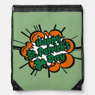Happy St. Patrick's Day Drawstring Bag
