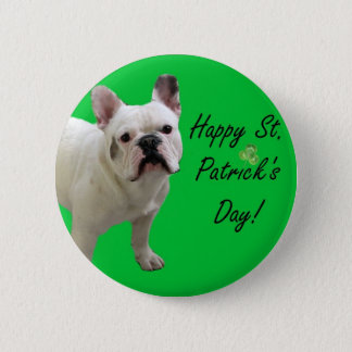 Happy St. Patrick's Day French Bulldog button