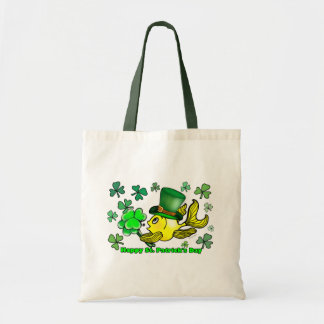 Happy St. Patrick's Day Goldfish Green Shamrocks Tote Bag