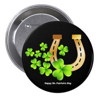 Happy St. Patrick's Day Good Luck Horse Shoe 7.5 Cm Round Badge