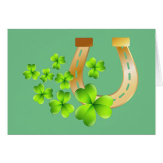 Happy St. Patrick's Day Good Luck Horse Shoe Card