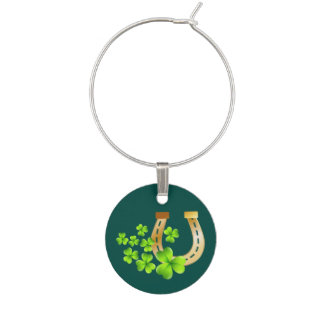 Happy St. Patrick's Day Good Luck Horse Shoe Wine Charm