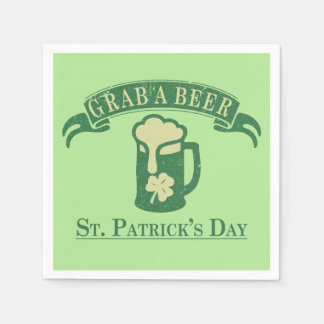 Happy St Patrick's Day Grab A Beer Disposable Serviette