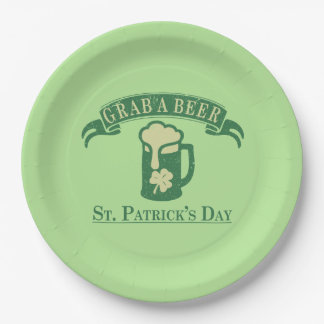 Happy St Patrick's Day Grab A Beer Paper Plate