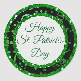 Happy St Patrick's Day Green Black Stickers
