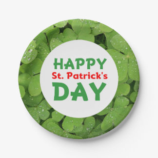 Happy St.Patrick's Day green clover paper plate
