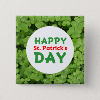 Happy St.Patrick's Day green clover pinback button