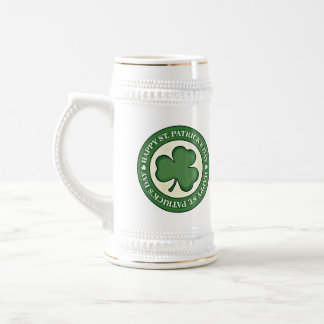 HAPPY ST PATRICKS DAY GREEN SHAMROCK  LOGO STEIN