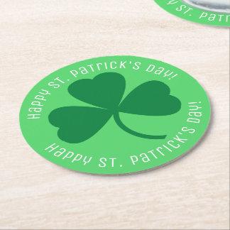 Happy St. Patrick's Day Green Shamrock Round Paper Coaster