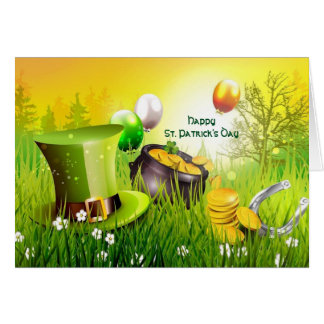 Happy St. Patrick's Day Hat and pot of Gold Card