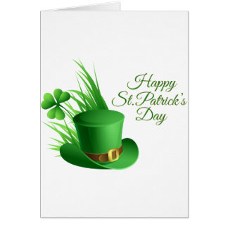 Happy St Patrick's day, holiday Irish hat saint Card