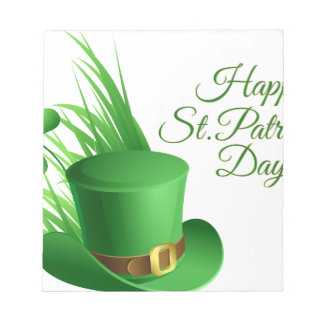 Happy St Patrick's day, holiday Irish hat saint Notepad