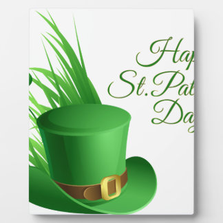 Happy St Patrick's day, holiday Irish hat saint Plaque