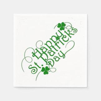 Happy St Patricks Day in Swirly Script Disposable Napkin
