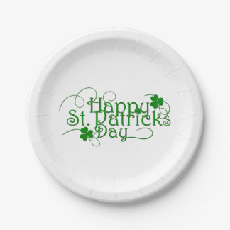 Happy St Patricks Day in Swirly Script Paper Plate