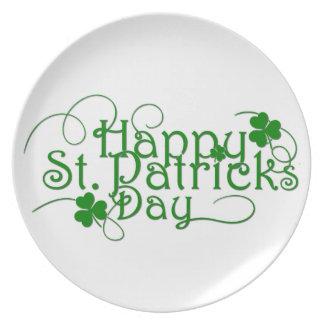 Happy St Patricks Day in Swirly Script Plate