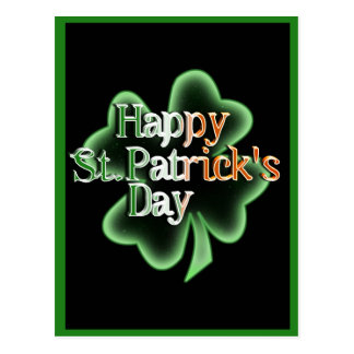 Happy St Patrick's Day (Irish Flag Color Text) Postcard