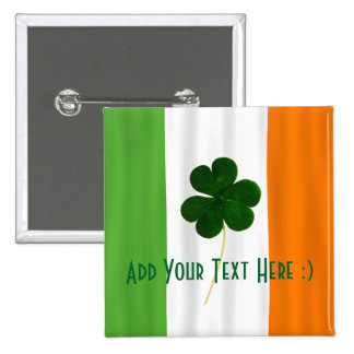 Happy St. Patrick's Day Irish Flag Shamrock Paddy 15 Cm Square Badge