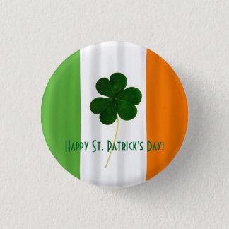 Happy St. Patrick's Day Irish Flag Shamrock Paddy 3 Cm Round Badge