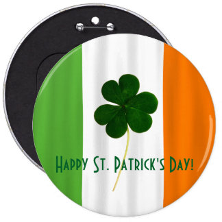 Happy St. Patrick's Day Irish Flag Shamrock Paddy 6 Cm Round Badge