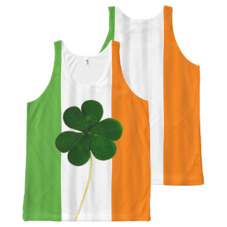 Happy St. Patrick's Day Irish Flag Shamrock Paddy All-Over Print Singlet