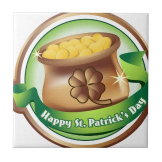 Happy St Patrick's day, Irish Saint Hat Holiday Ceramic Tile