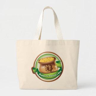 Happy St Patrick's day, Irish Saint Hat Holiday Large Tote Bag
