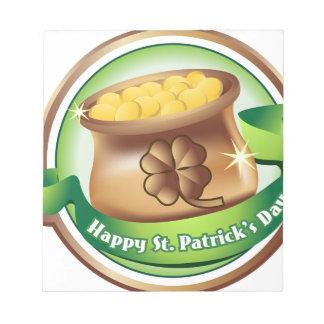 Happy St Patrick's day, Irish Saint Hat Holiday Notepad
