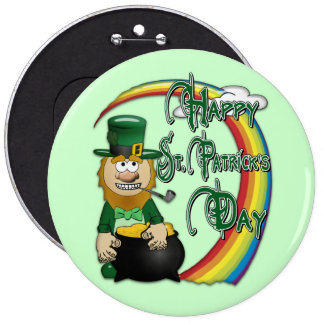 Happy St Patricks Day Leprechaun 6 Cm Round Badge