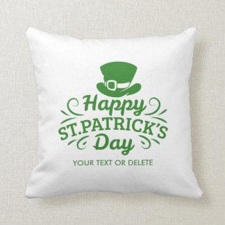 Happy St Patricks Day Leprechaun Hat Custom Text Cushion