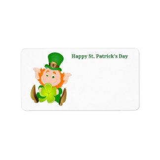 Happy St. Patrick's Day leprechaun Label