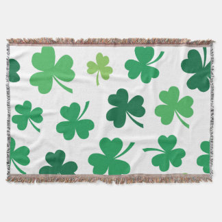 Happy St. Patrick's Day. Lucky Clover. Throw Blanket