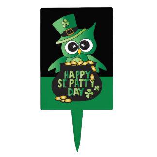 Happy St. Patrick's Day Owl Cake Picks