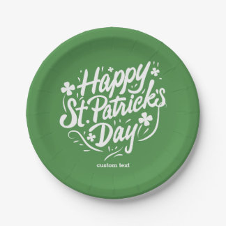 Happy St Patricks Day Party Custom Irish Shamrocks Paper Plate