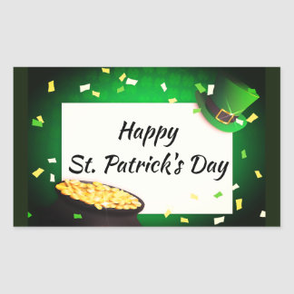 Happy St Patrick's Day Pot of Gold Green Luck Rectangular Sticker
