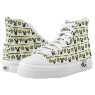Happy St. Patricks Day Pugs.jpg Printed Shoes
