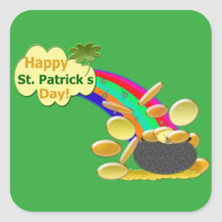 Happy St. Patrick's Day Rainbow Square Sticker