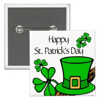 """""""Happy St. Patrick's Day"""" Shamrock 15 Cm Square Badge"""