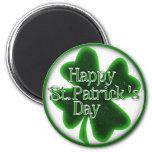 Happy St. Patricks Day Shamrock 6 Cm Round Magnet