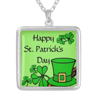 """""""Happy St. Patrick's Day"""" Shamrock Green Silver Plated Necklace"""