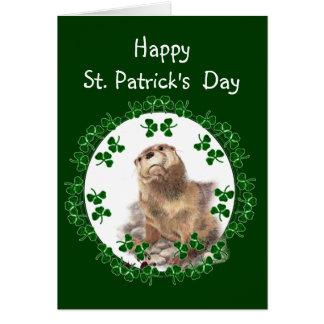 Happy St. Patrick's Day Shamrock Otter Animal fun Card