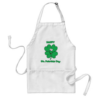 Happy St Patricks Day Shamrock Smilie Standard Apron