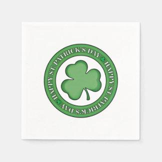 Happy St Patricks Day Shield Disposable Napkin
