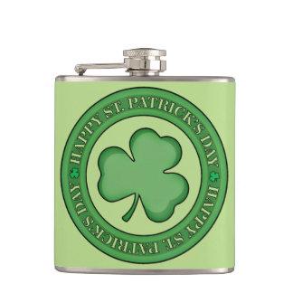 Happy St Patricks Day Shield Hip Flask