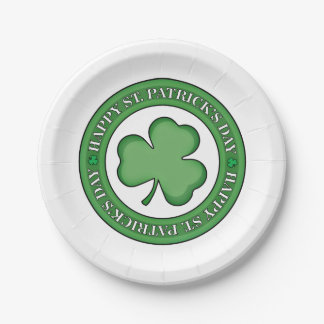 Happy St Patricks Day Shield Paper Plate