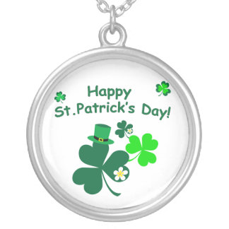 Happy St. Patrick's Day Silver Plated Necklace