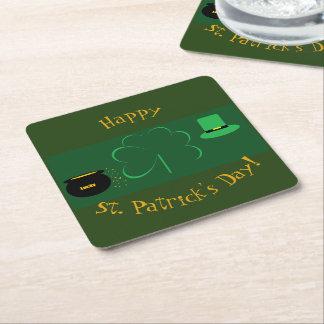 Happy St. Patrick's Day Square Paper Coaster